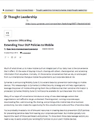 Extending DLP policies to mobile - ghostwritten blog