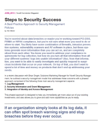 Steps to Security Success bylined article